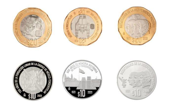Banxico saca 6 monedas conmemorativas a los 700 años de la fundación lunar de Tenochtitlán y a la Conquista e Independencia de México