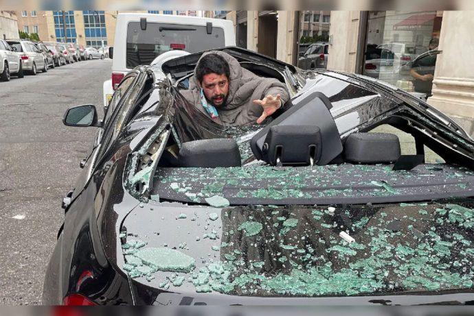 Hombre sobrevive a caída de 9 pisos de un rascacielos en Nueva Jersey; cayó sobre un BMW