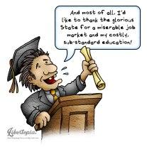 Graduation, graduate, libertarian, cartoon, statism