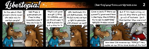 libertarian, voluntaryist, cartoon, series, libertopia, illustration, statism, free association, tolerance, diversity, equality