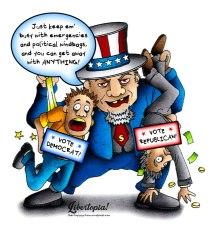 democrat, republican, political cartoon, left vs. right, political windbags, statism, vote democrat, vote republican, election 2016, cartoon, libertarian, libertarianism