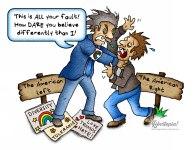 leftist, intolerance, cartoon, illustration, political cartoon, conservative, diversity, intolerance,