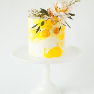 Lemon Pound Cake with Yuzu Blackberry Buttercream