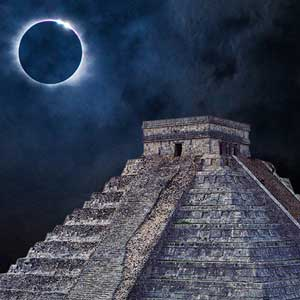 Solar eclipse over a Mayan temple
