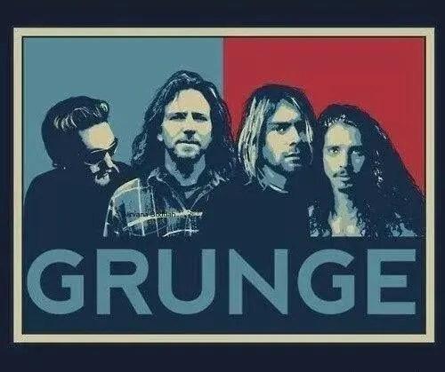 """Immagine che ritrae i """"Big 4"""" sopra la scritta Grunge."""
