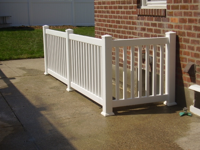 Outdoor Pvc Vinyl Railings Handrails Liberty Fence Railing   Exterior Basement Entrance Stairs   Garage   Victorian Era   Stone Wall   Access   Finished