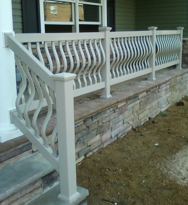 Outdoor Pvc Vinyl Railings Handrails Liberty Fence Railing | Outdoor Railings For Steps | Exterior | Outside | Residential | Staircase | Interior