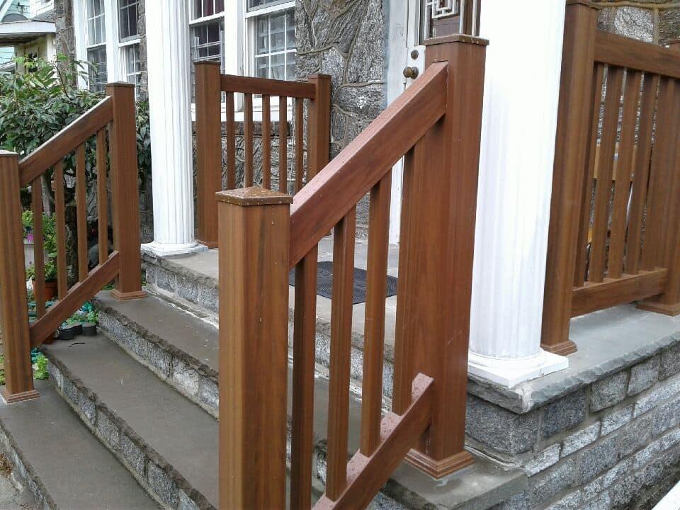 Outdoor Pvc Vinyl Railings Handrails Liberty Fence Railing | Wood Railing On Concrete Steps | Stair Railing | Diy | Wooden | Railing Mode | Staircase