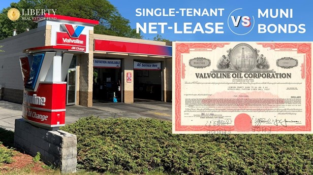 Picture titled Single Tenant Net Lease Properties (also known as NNN) versus Municipal Bonds with a Valvoline Oil Change building next to a municipal bond certificate showing real estate has better tax benefits and superior yields than bonds.