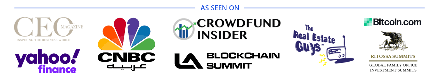 As Seen On Yahoo CNBC Crowdfund Insider LA Blockchain CEO Magazine The Real Estate Guys and Bitcoin