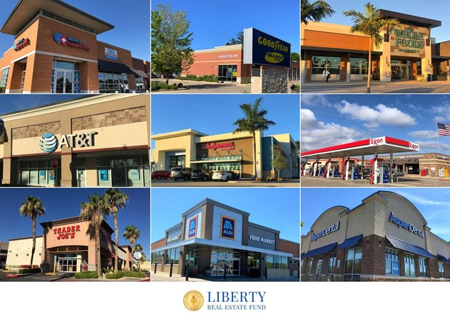 A picture showing nine Net Lease properties in the Liberty Real Estate Fund portfolio including Trader Joe's, Walgreens, Midwest Express Medical Clinic, Goodyear, Whole Foods, AT&T, Aldi, Aspen Dental, 7-Eleven/Exxon with American Flag,
