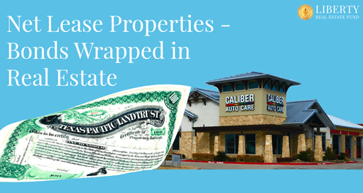 A picture of a Caliber Collision store in Texas wrapped in a Texas Bond Certificate to illustrate how Net Lease Properties Are Like Bonds Wrapped In Real Estate