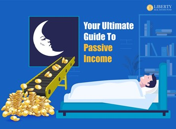 A person sleeping in their bed with a conveyor belt sticking through the window and piling gold coins at the foot of the bed with the picture titled Your Ultimate Guide To Passive Income and the Liberty Real Estate Fund Logo.
