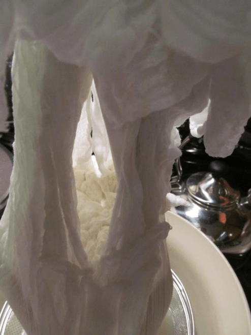 a peek inside the cheesecloth