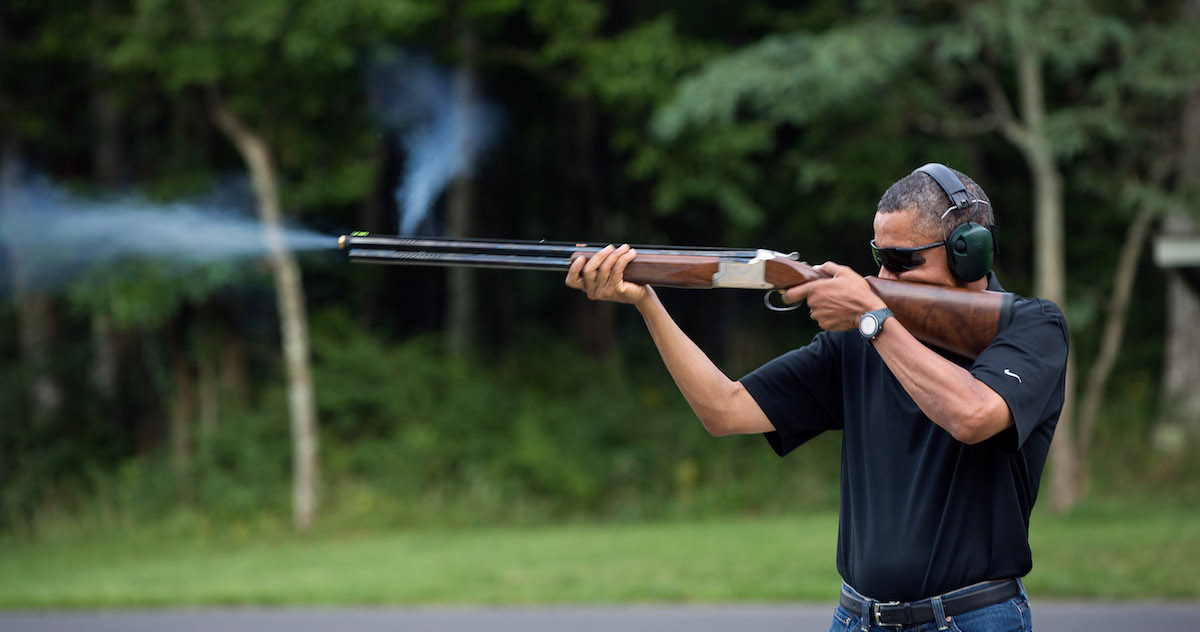 President Barack Obama shoots clay target on the range at Camp David, Md., Saturday, Aug. 4, 2012. (Official White House Photo by Pete Souza) This official White House photograph is being made available only for publication by news organizations and/or for personal use printing by the subject(s) of the photograph. The photograph may not be manipulated in any way and may not be used in commercial or political materials, advertisements, emails, products, promotions that in any way suggests approval or endorsement of the President, the First Family, or the White House.