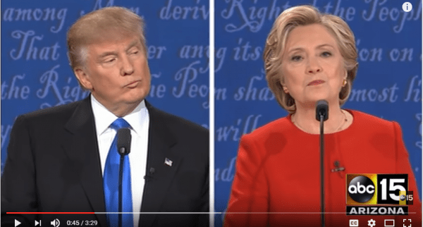 "During the debate between Donald Trump and Hillary Clinton, she couldn't say ""gun control"" in the same sentence. (YouTube snip)"