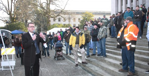 Second Amendment activists gathered in Olympia earlier this year to oppose gun control measures in Washington State. Their efforts paid off Thursday with the defeat of a bill that would have required licensing of guns and magazines. (Dave Workman)