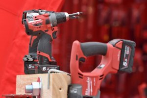 red power tools drill saw