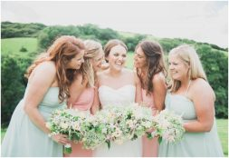Liberty Pearl Photography Cornwall wedding photographer Pengenna Manor bridesmaids happy