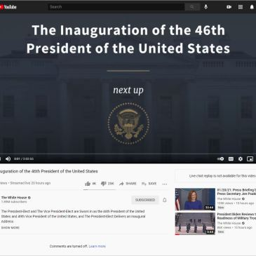 President Biden Inauguration Video Ratioed Unlisted on YouTube