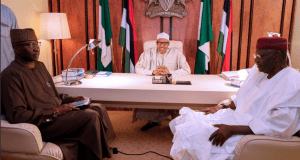 Buhari pictured in his office with COS Abba Kyari and SGF Boss Mustapha