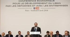 Le Premier Ministre Libanais Saad Hariri, lors de la conférence CEDRE en avril 2018. Crédit Photo: Dalati & Nohra