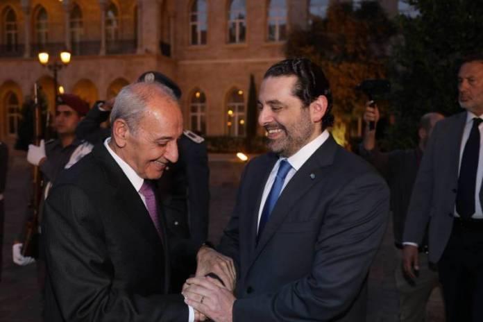 Le Premier Ministre sortant Saad Hariri avec le Président de la Chambre des députés sortante Nabih Berry. Crédit Photo: Dalati & Nohra
