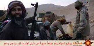 Capture d'une vidéo montrant selon les FSI, M. KH suspecté d'appartenance à l'organisation terroriste Daesh dans la région de Palmyre. Source: Facebook
