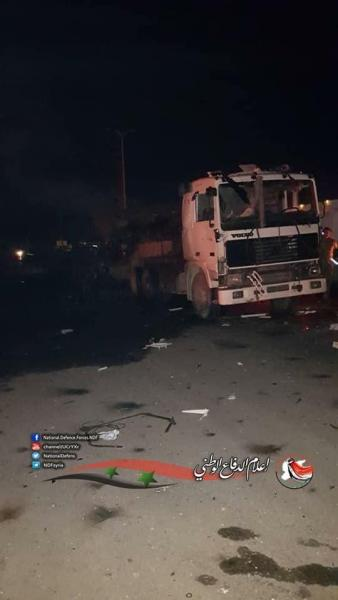 Le convoi visé par le bombardement israélien selon des informations syriennes. Source: Twitter