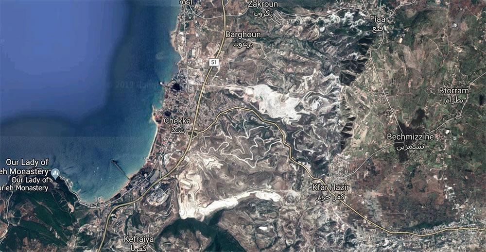 Image Satellite des Carrières du Koura.