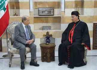 Le Président de la République, le Général Aoun, avec le Patriarche Maronite Béchara Boutros Raï au Palais de Beiteddine.