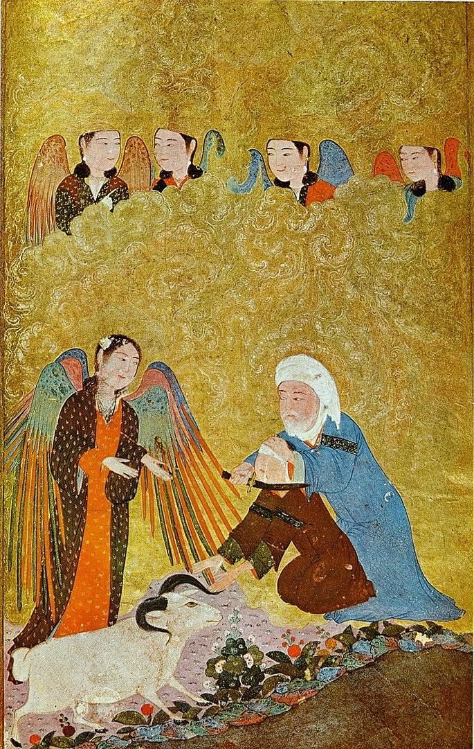 Le sacrifice d'Abraham, miniature persane illustrant La fine fleur des Histoires, par Louqman (1583, musée d'art islamique d'Istanbul)