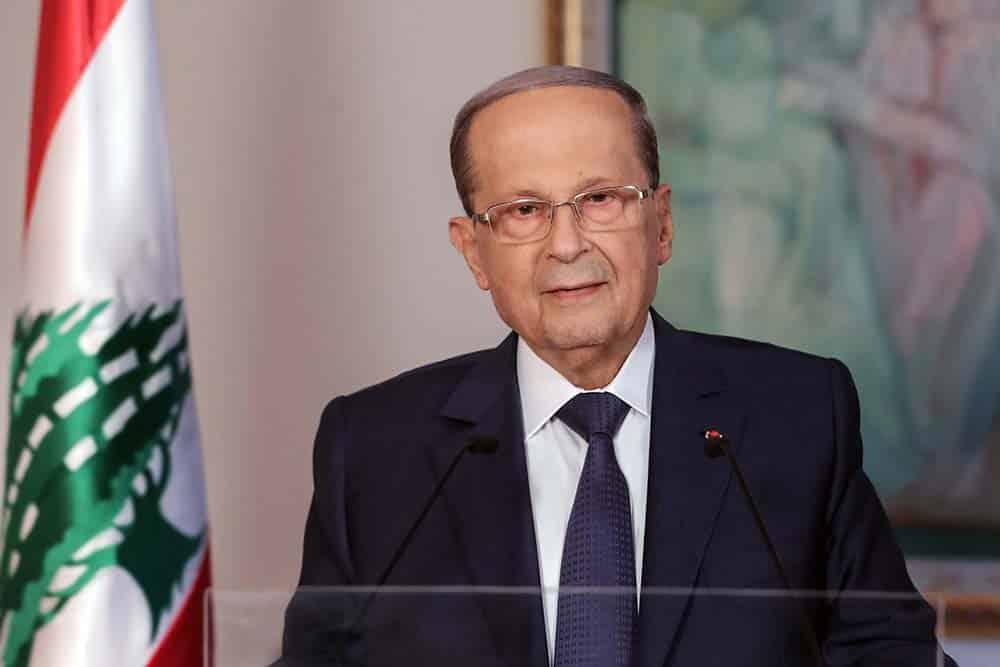 Le Président de la République, le Général Michel Aoun, prononçant un discours à l'occasion du 3ème anniversaire de son accession au pouvoir. Source Photo: Dalati & Nohra
