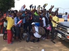 Athletic shoes arrive in Liberia (Photo Courtesy of local Liberian athlete Richard Mayango).