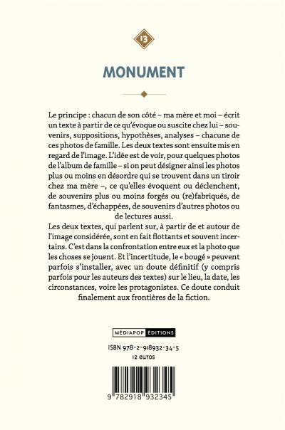 Monument - Bernard Heizmann - mediapop éditions