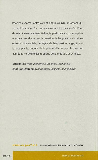 Symptômes - Vincent Barras - Jacques Demierre - HEAD
