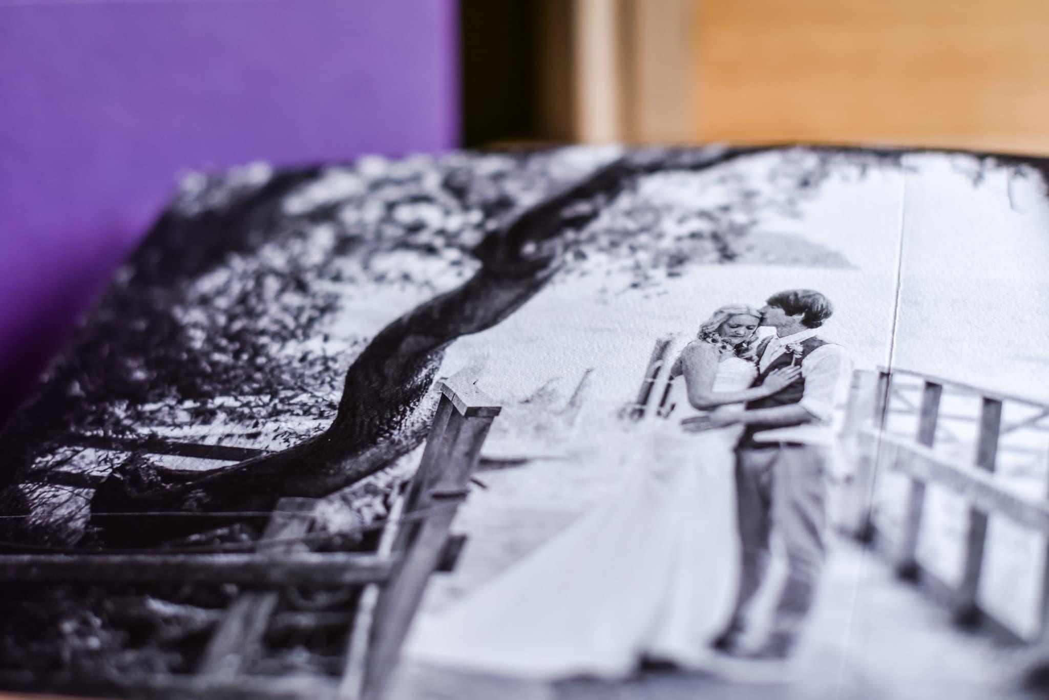 Wedding album in black and white