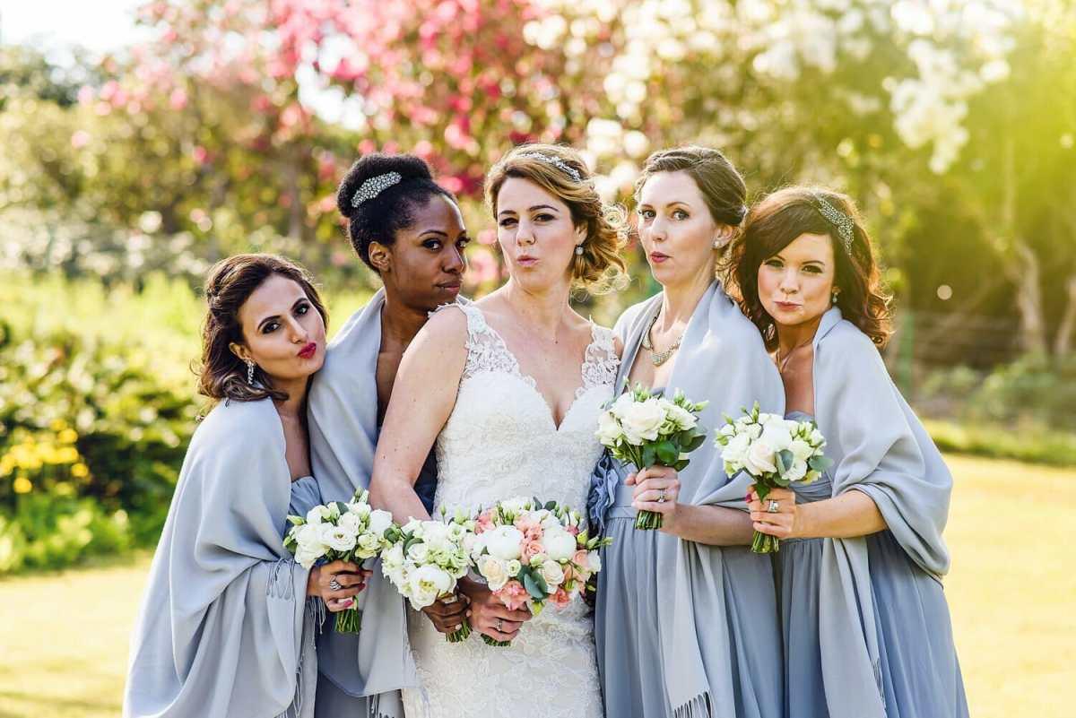 Bride and Bridesmaids in Studland Bay House gardens