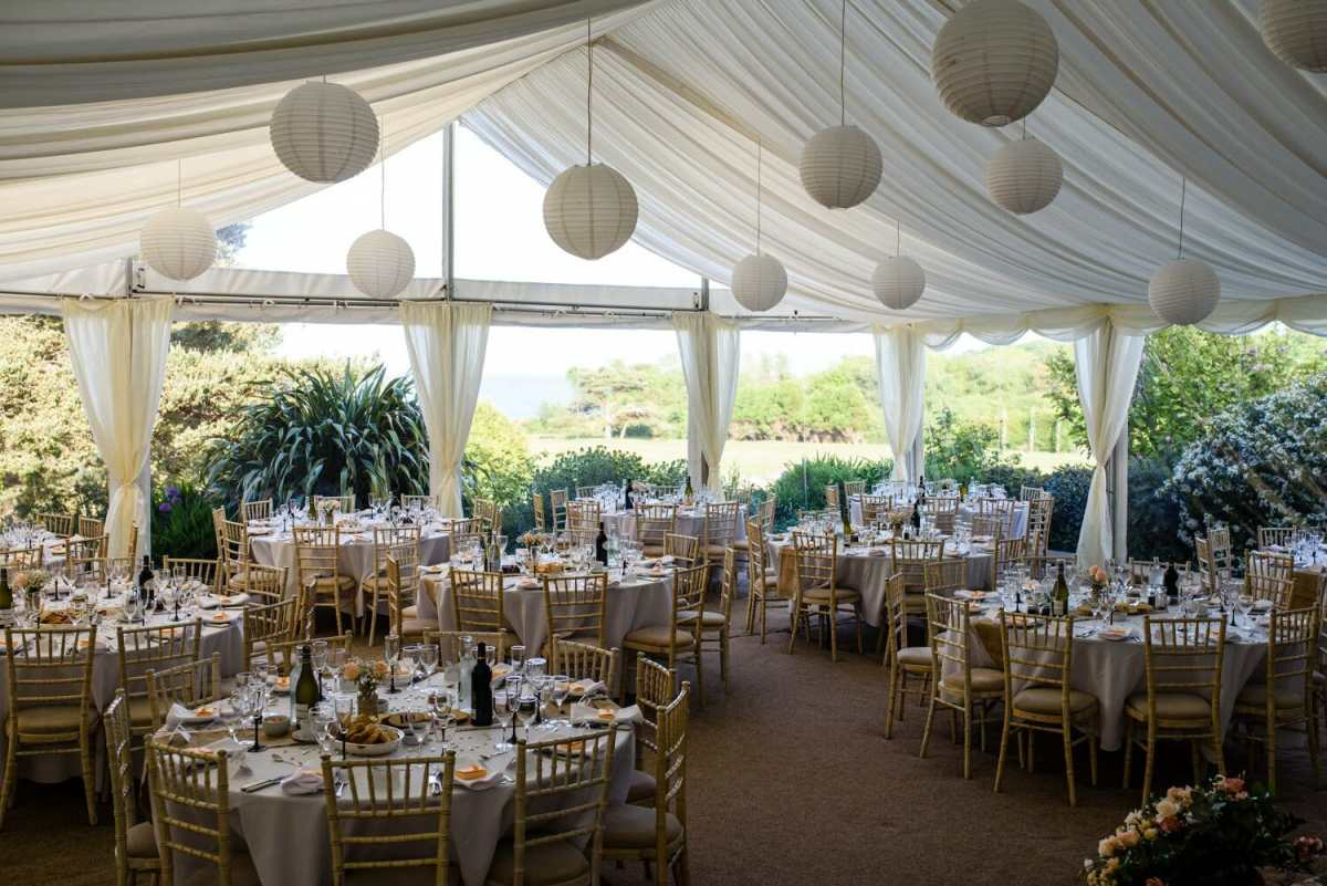 Studland Bay House Marquee Ready for the wedding