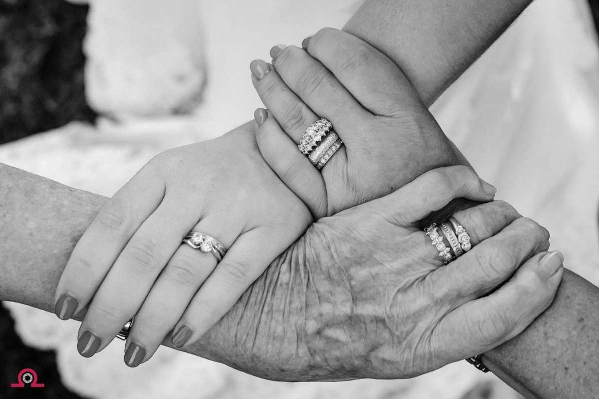 Three generations holding hands