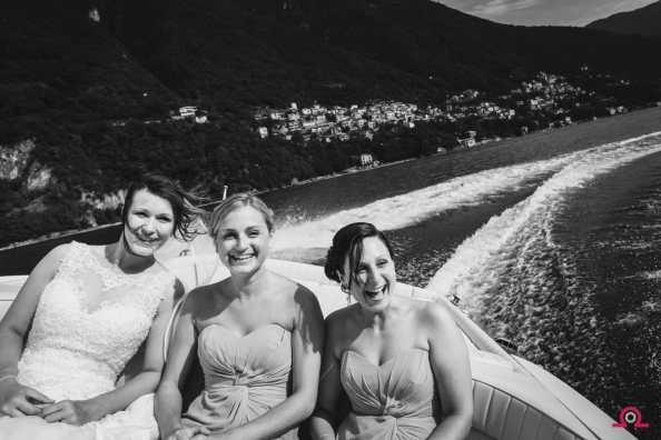 Bride and Bridesmaids on Reva boat   Lake Como Wedding