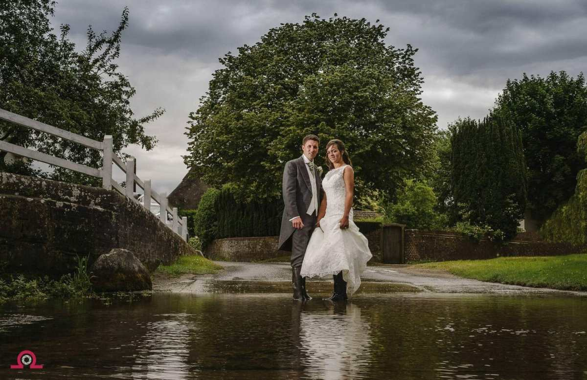 Bride and Groom take a dip in the River Tarrant