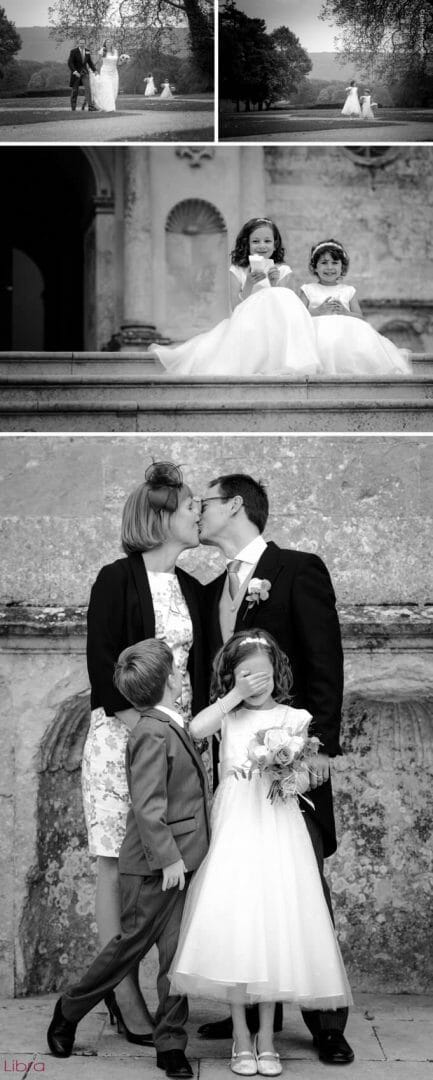cute flowergirls on steps of Lulworth Castle