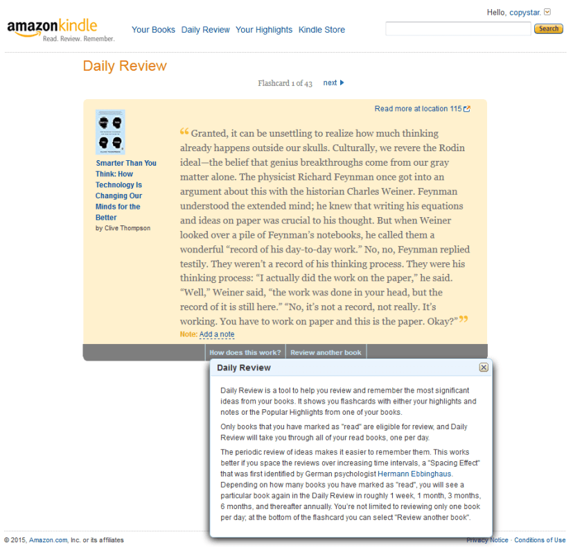 screenshot of kindle daily review