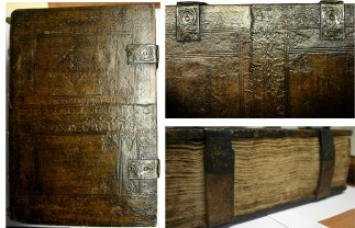 A mid-16th century binding made up of pieces of earlier bindings on a copy of the 1478 printing of Jacobus de Voragine's Legenda Aurea.