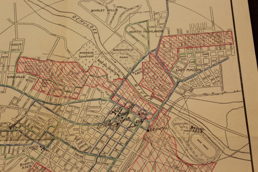 Map of Macon     John Oliver Killens s Youngblood Map of Macon showing bus lines  greens   main streets  blue