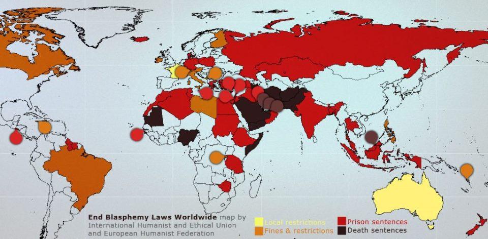 A blaszfémiatörvény világtérképe (forrás. http://end-blasphemy-laws.org/)