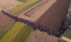 drónfelvétel menekültekről