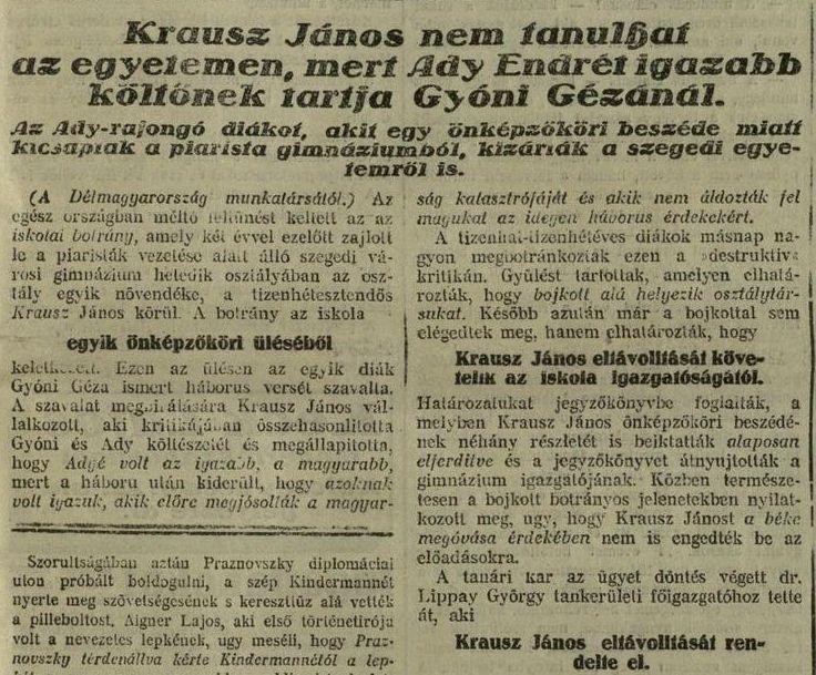 A Délmagyarország 1927. szeptember 25-én megjelent újságcikkének részlete