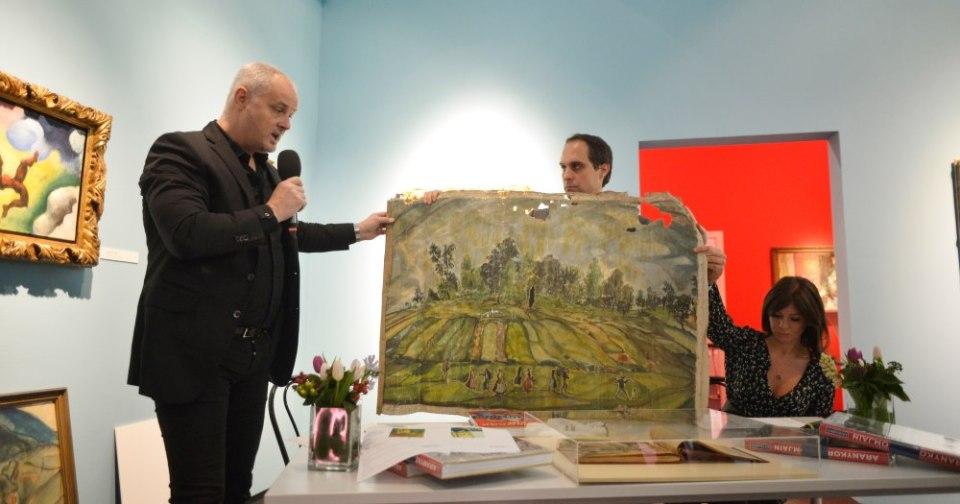 Így néz ki egy föld alól előkerült Batthyány Gyula festmény (fotó: Kieselbach)